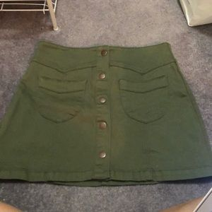 stretchy army green button up skirt